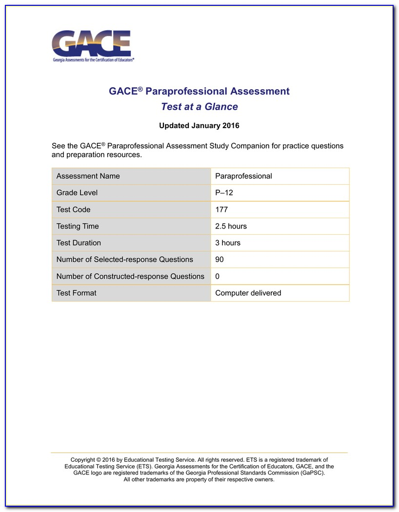 Georgia Paraprofessional Certificate Test