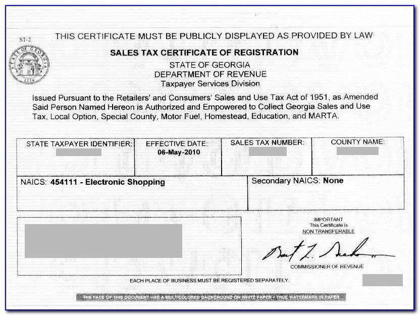 Georgia Resale Certificate Number