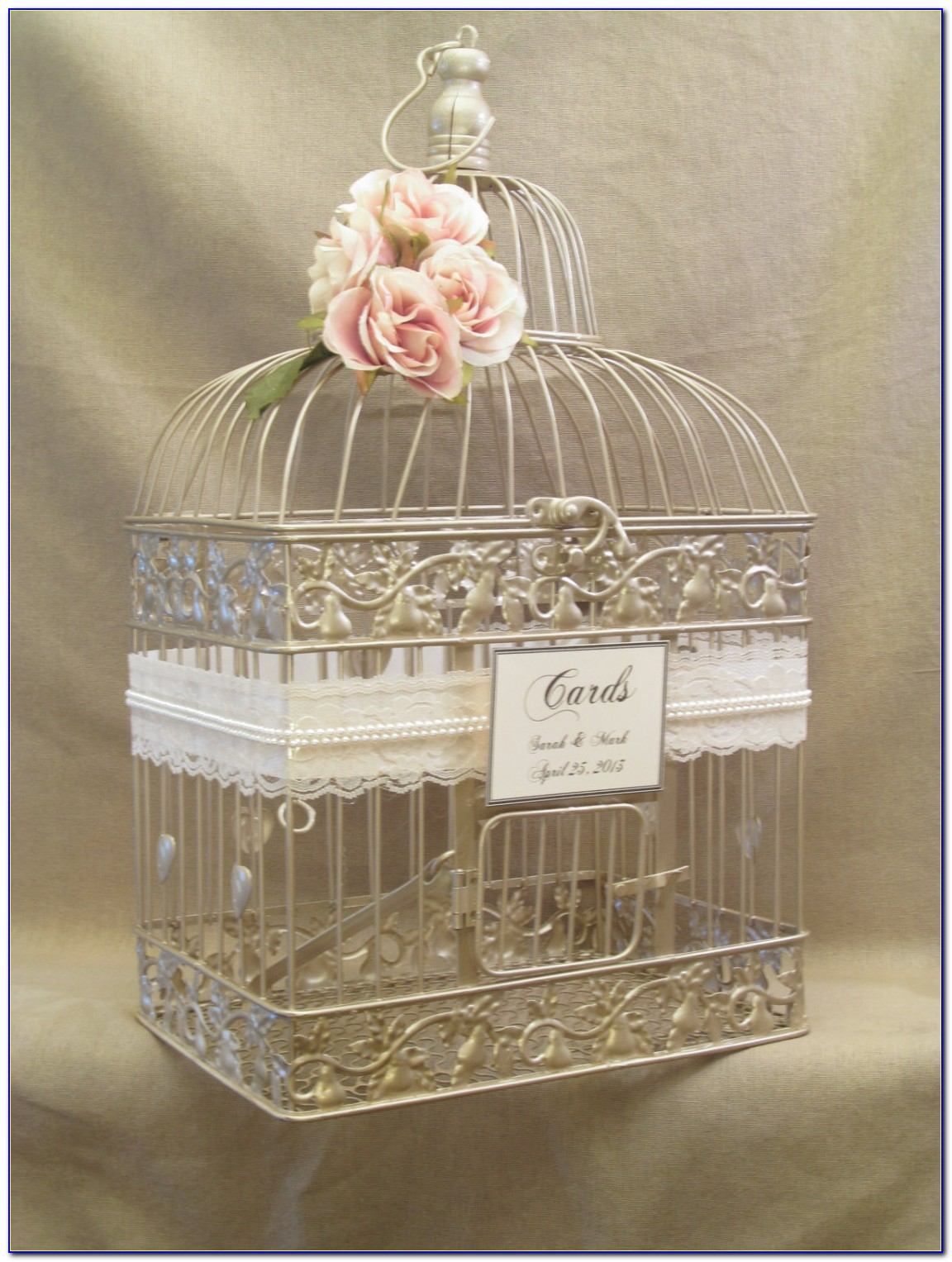Glass And Gold Wedding Card Holder