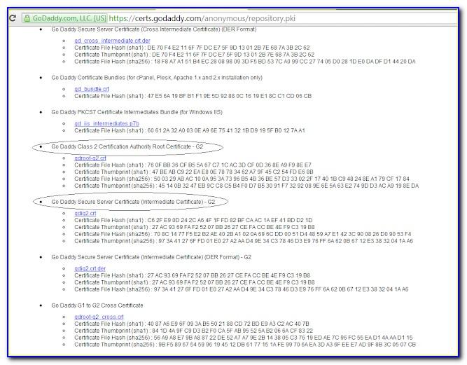 Godaddy Root Certificate G2