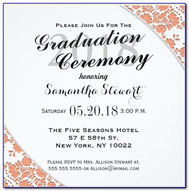 Graduation Ceremony Invitation Card Sample
