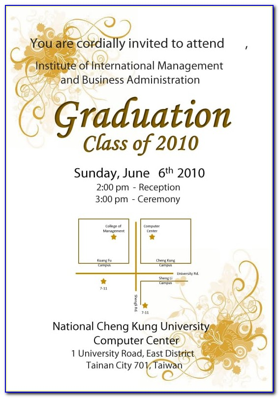 Graduation Ceremony Invitation Card Template