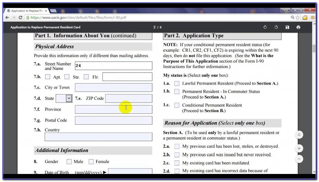 Green Card Renewal Form I 90 Printable
