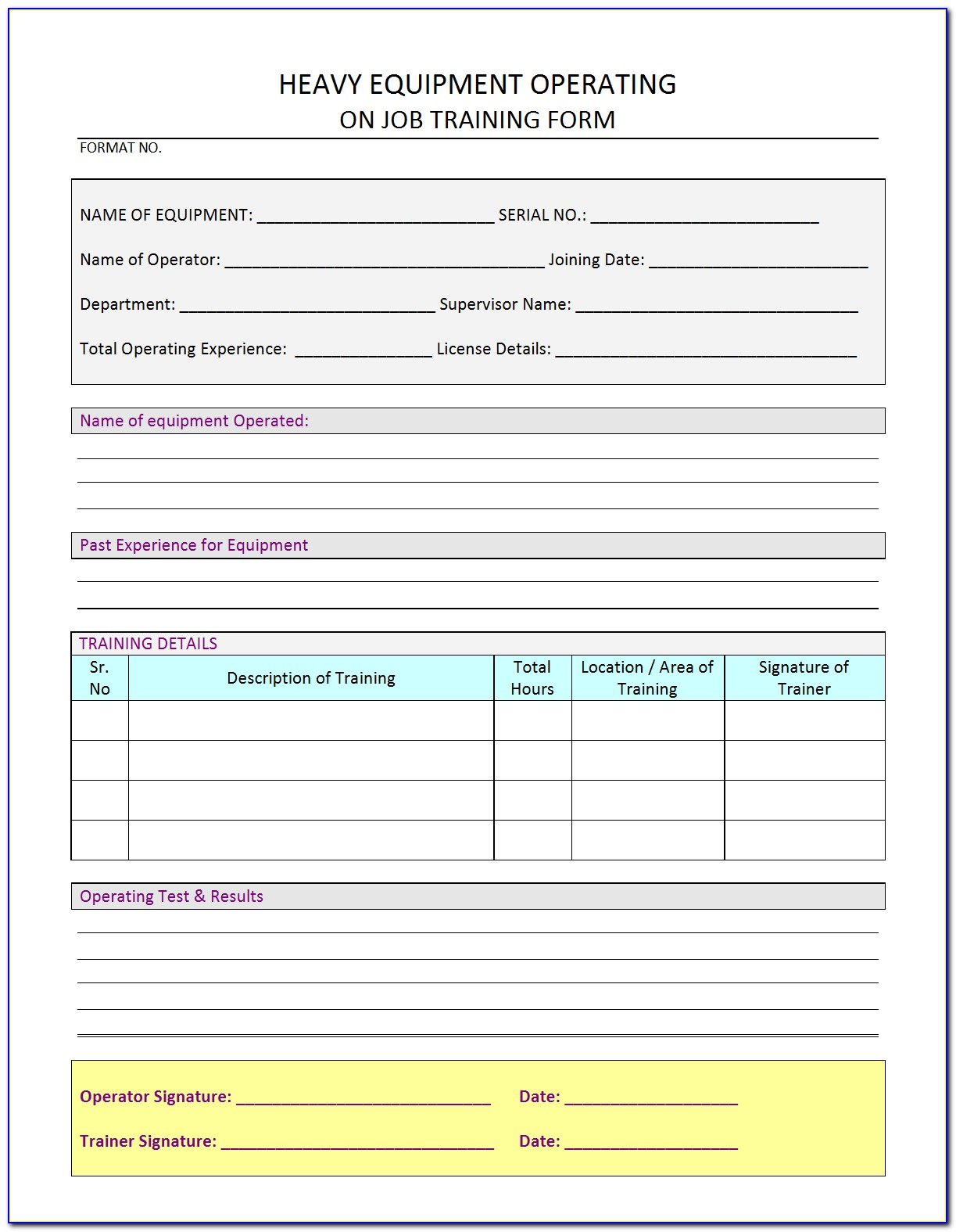 Heavy Equipment Operator Card Template