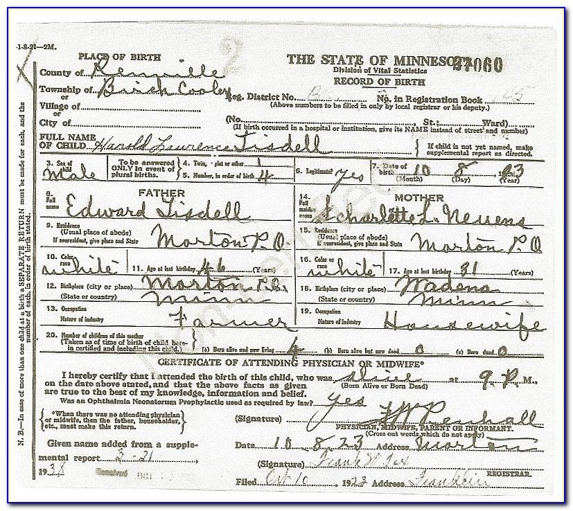 Hennepin County Mn Birth Certificate