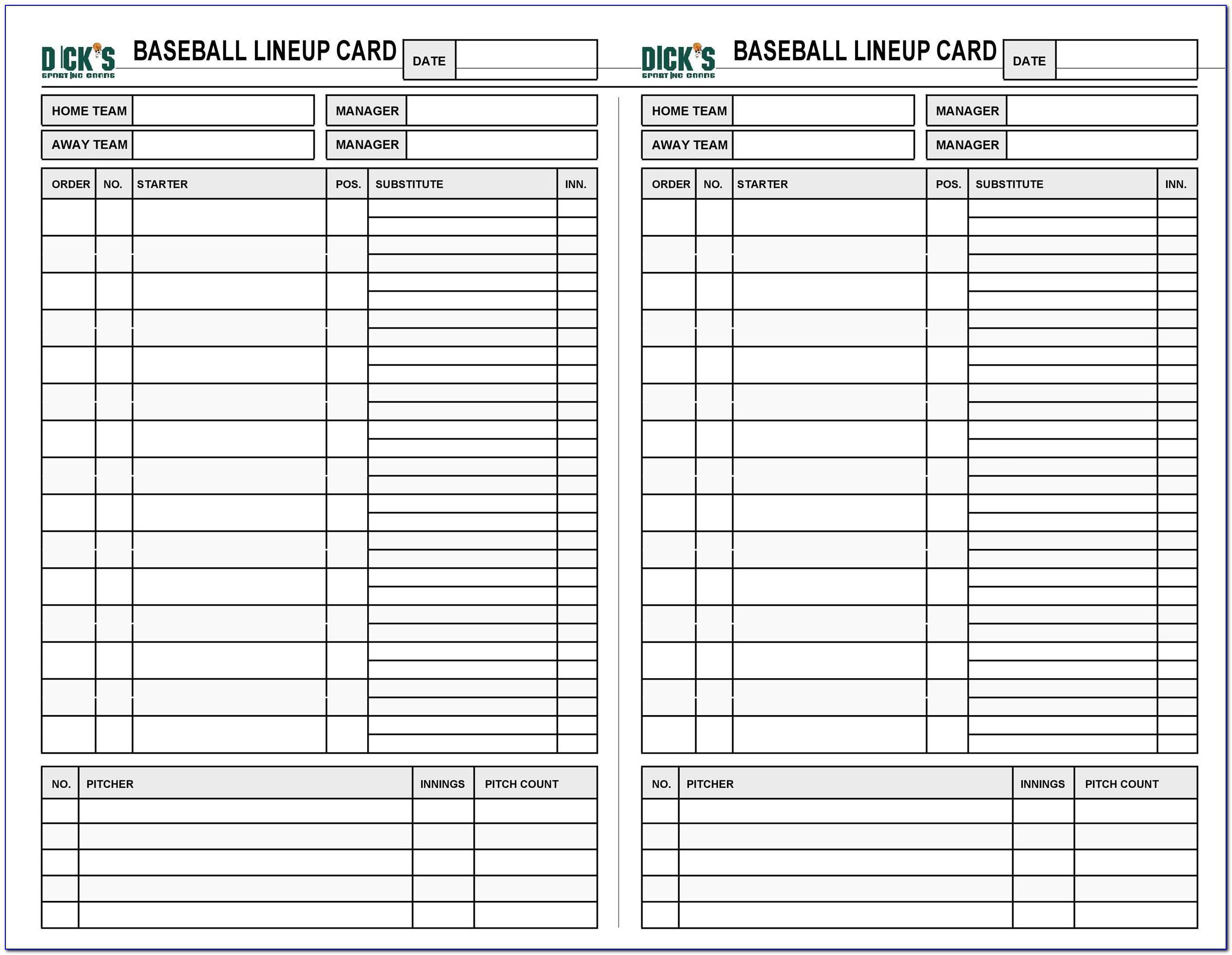 High School Baseball Lineup Card Template