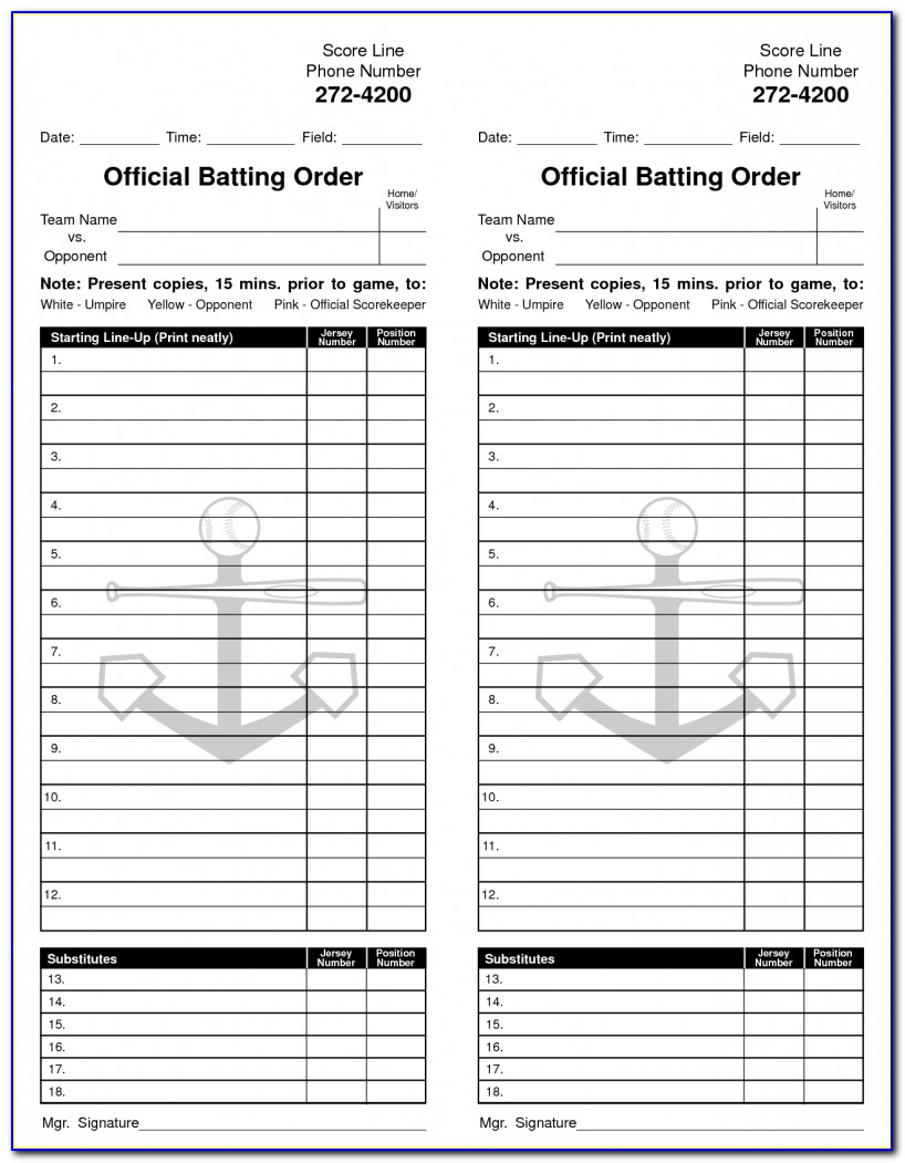 Hockey Lineup Card Template Excel