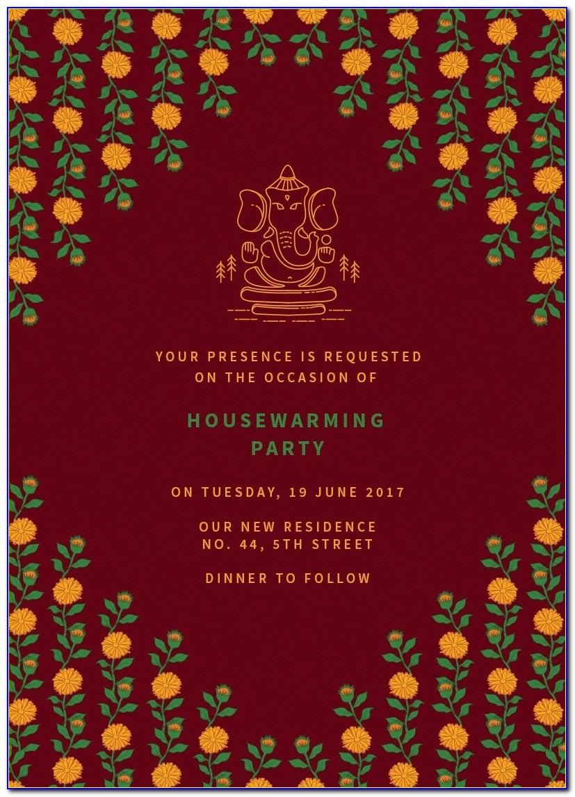 Housewarming Invitation Card Design Indian