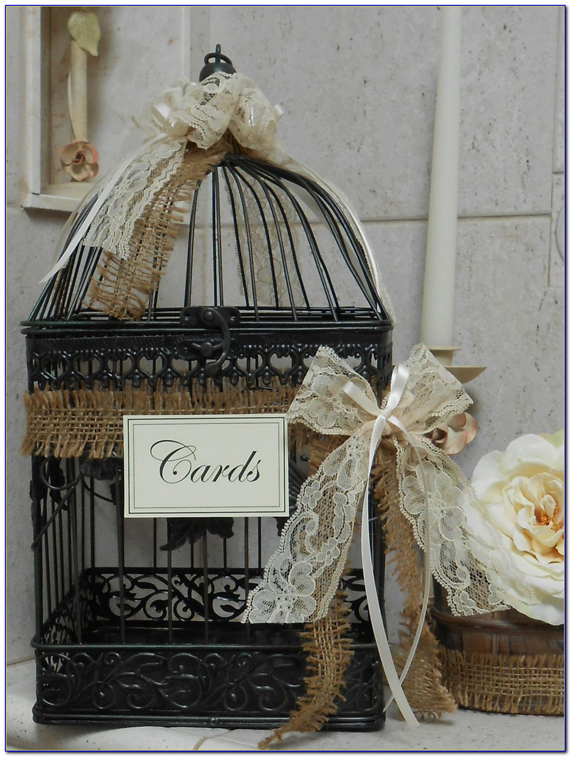 How To Decorate A Wedding Birdcage Card Holder