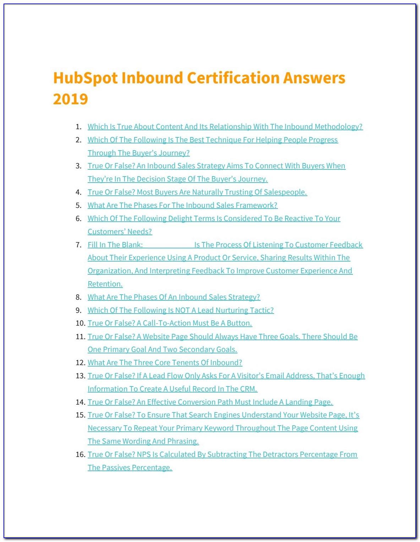 Hubspot Inbound Certification Answers