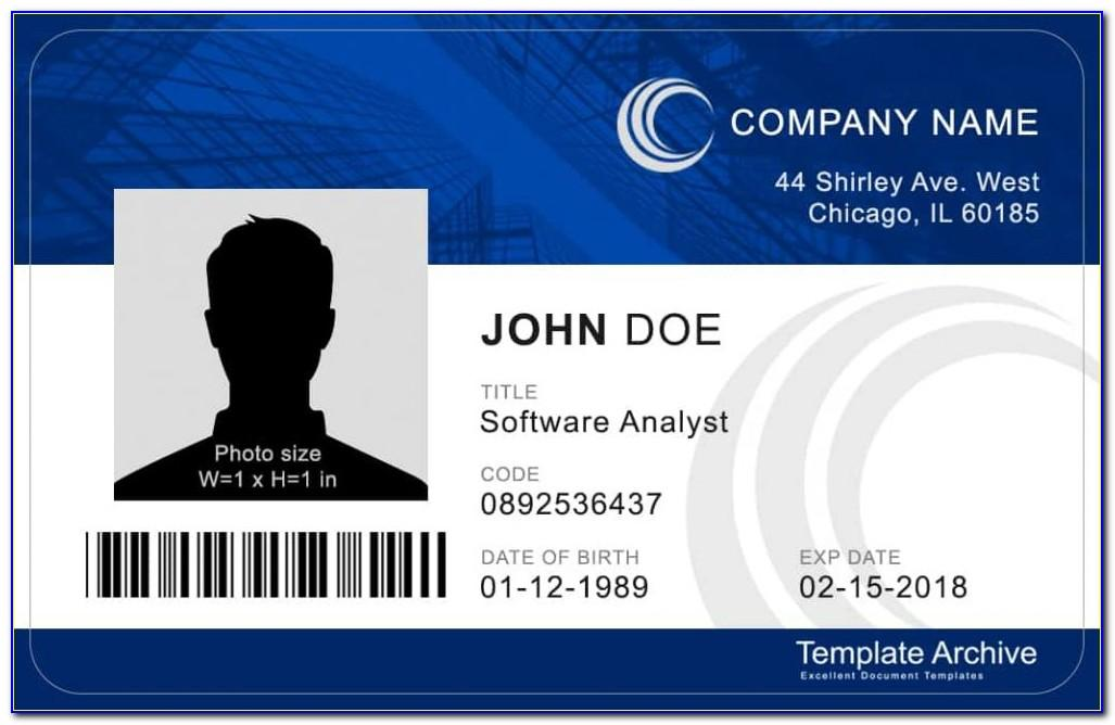 Id Card Template Word Landscape