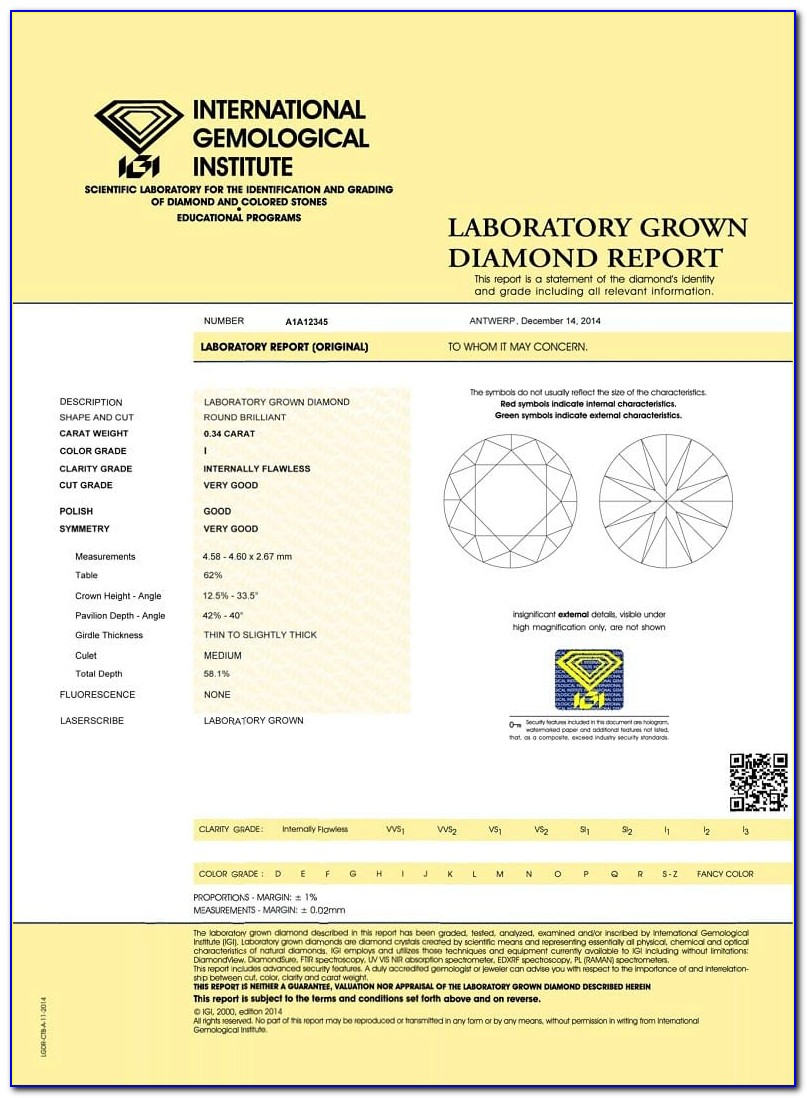 Igi Diamond Certification Price List