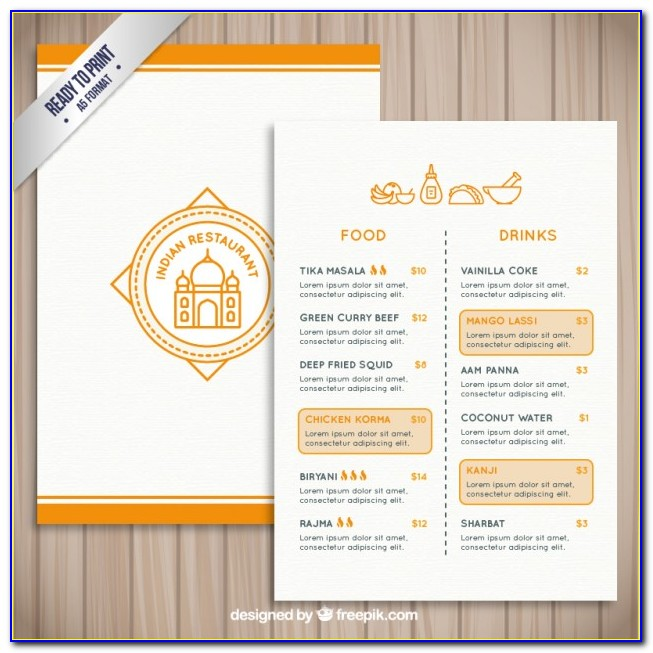 Indian Restaurant Menu Card Template