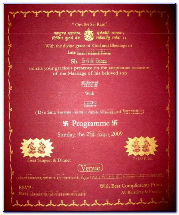 Indian Wedding Card Matter In English For Son
