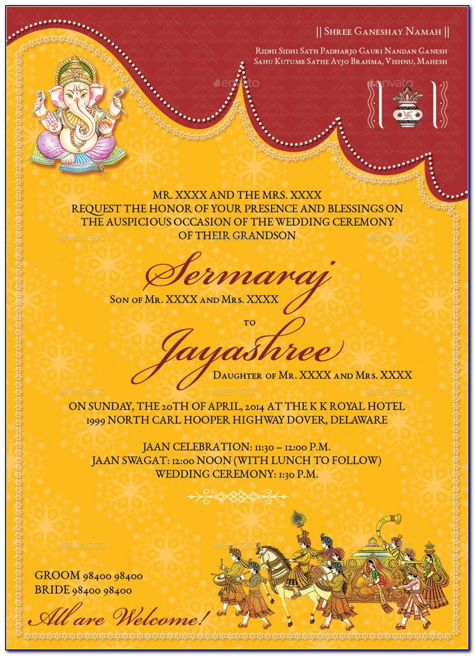 Indian Wedding Invitation Cards Templates Free Download