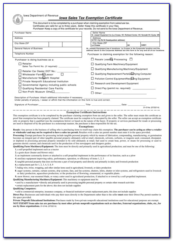 Iowa Sales Tax Exemption Certificate For Construction