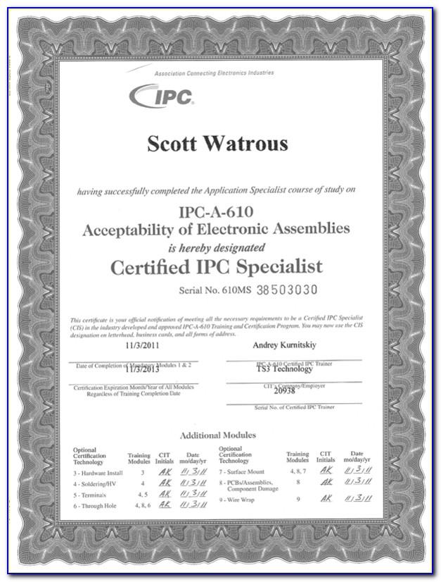 Ipc 610 Certification Extension