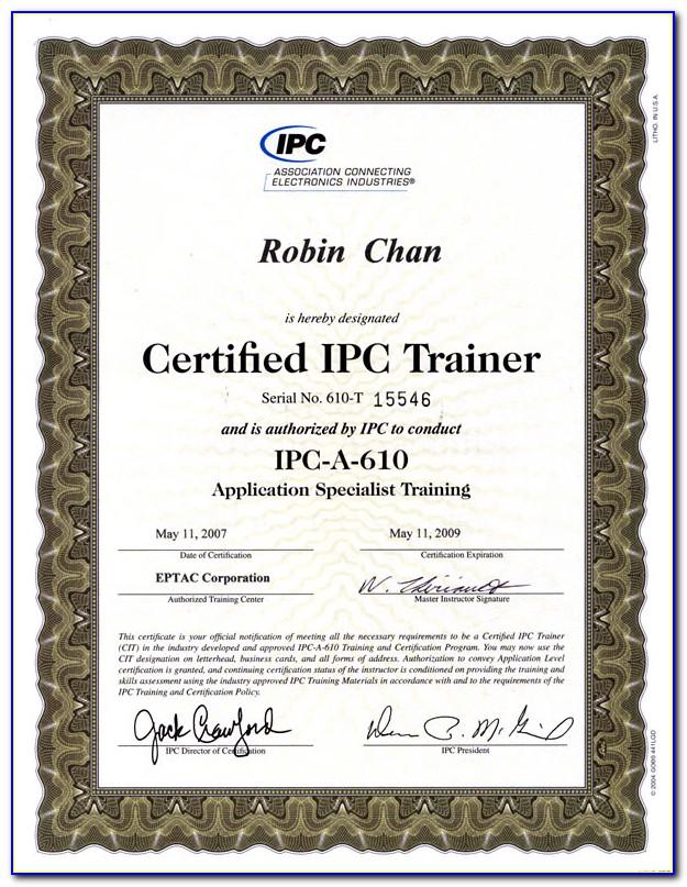 Ipc 610 Certification India