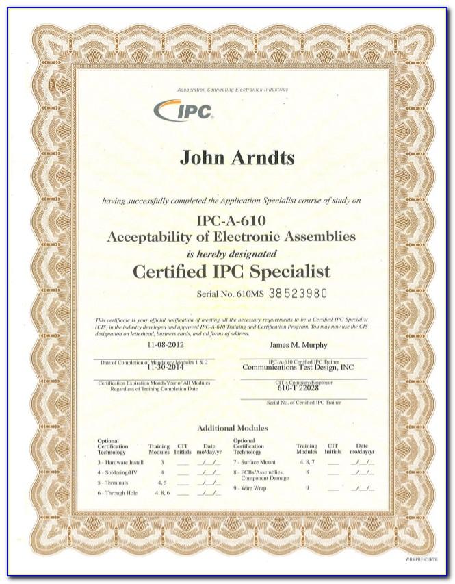 Ipc 610 Certification Price