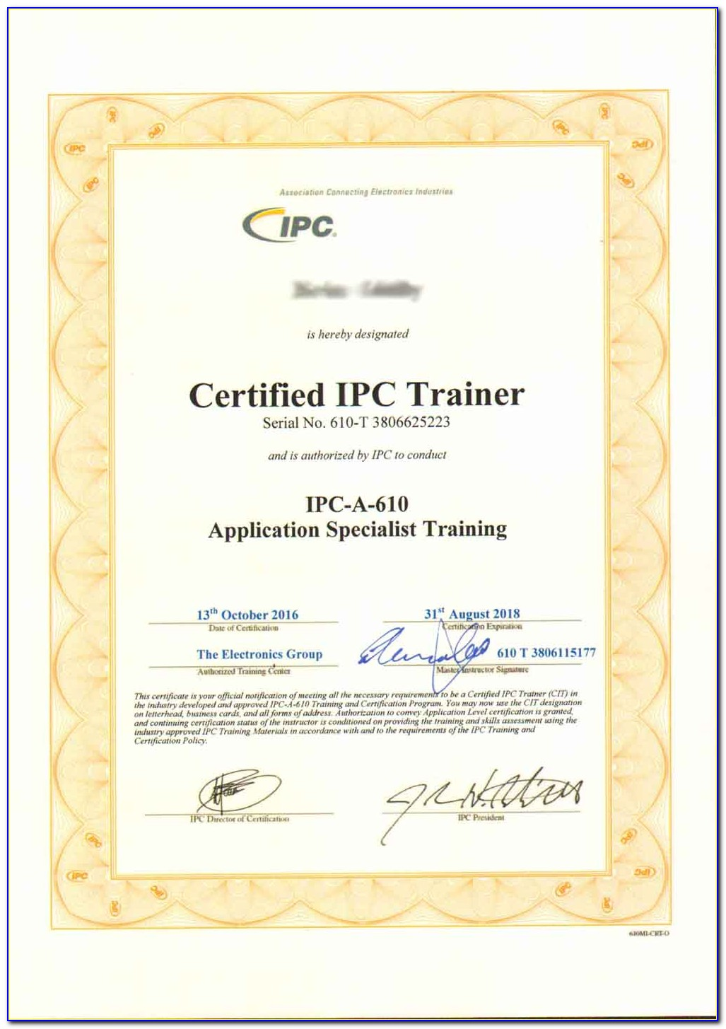 Ipc 610 Certified