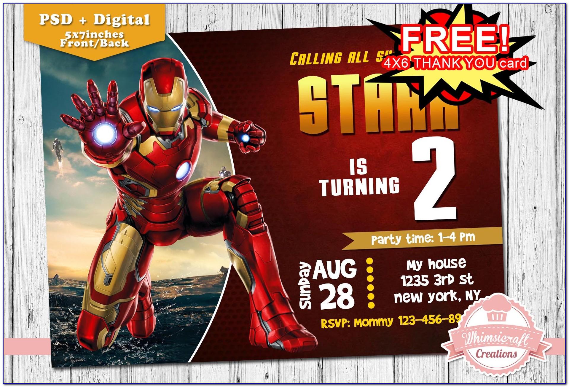 Iron Man Birthday Invitation Card