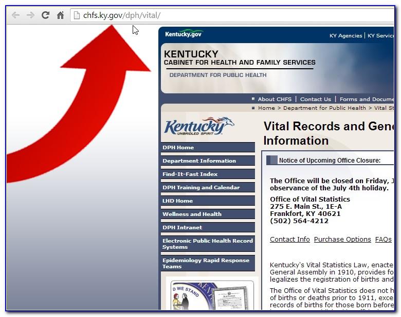 Kentucky Vital Statistics Birth Certificate Application