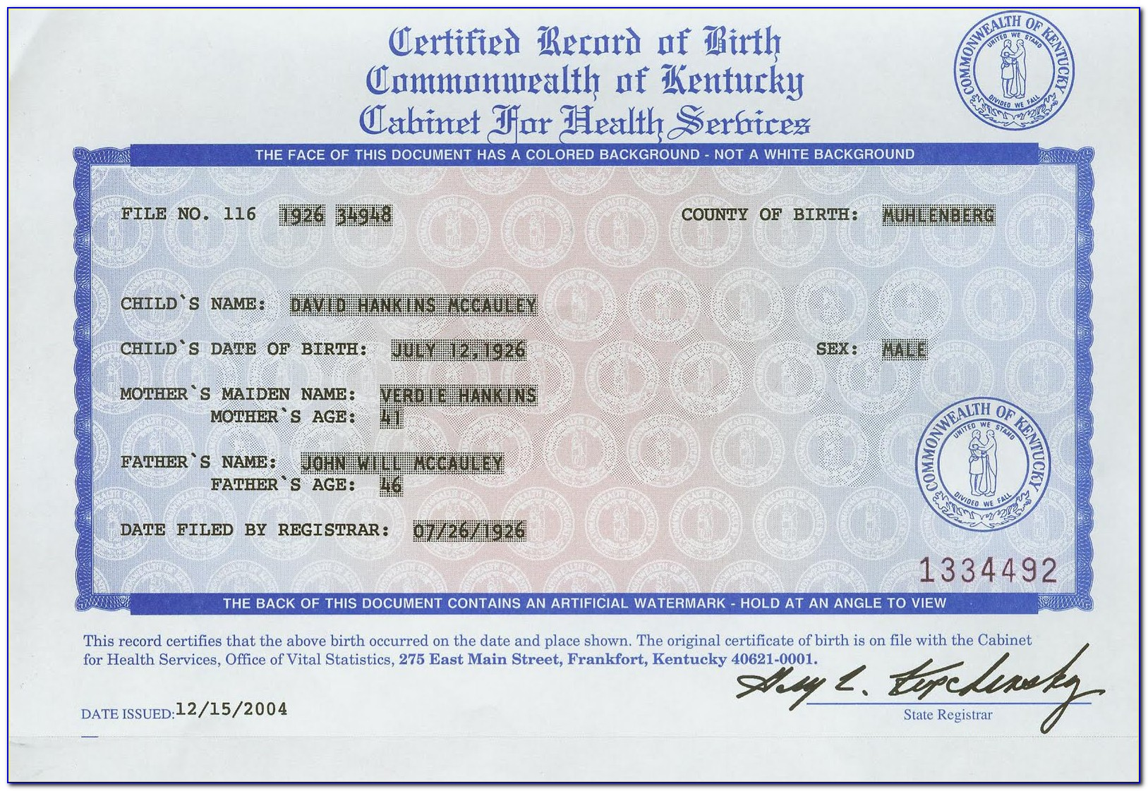 Kentucky Vital Statistics Birth Certificate Form