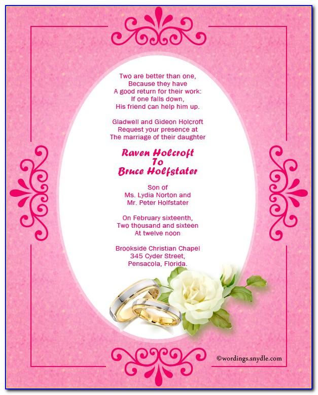 Kerala Christian Wedding Card Matter In English