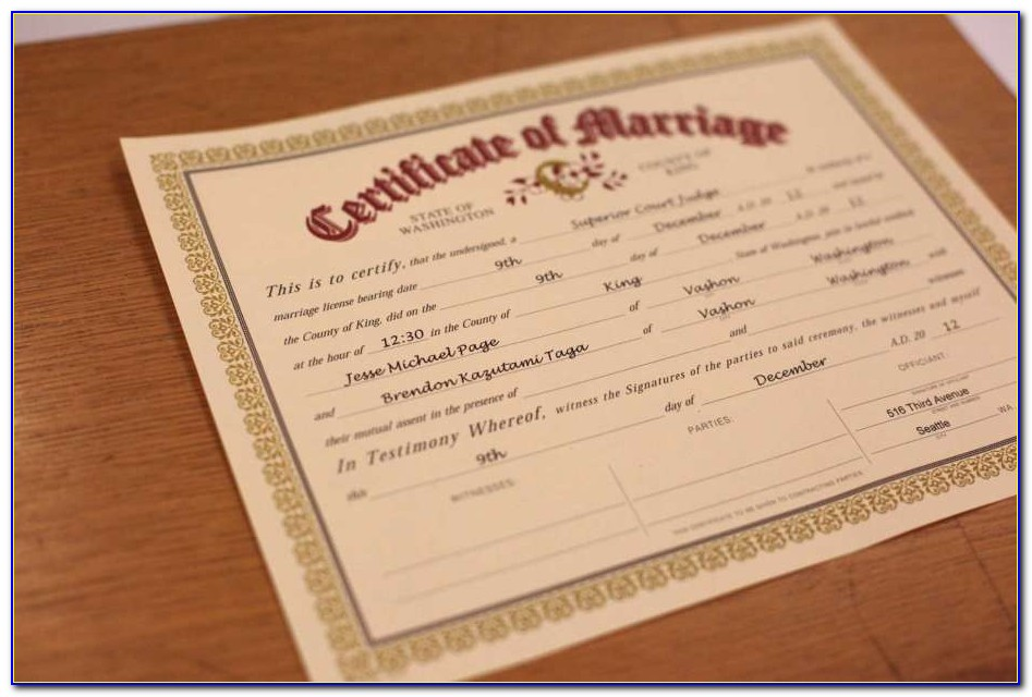 King County Marriage Application
