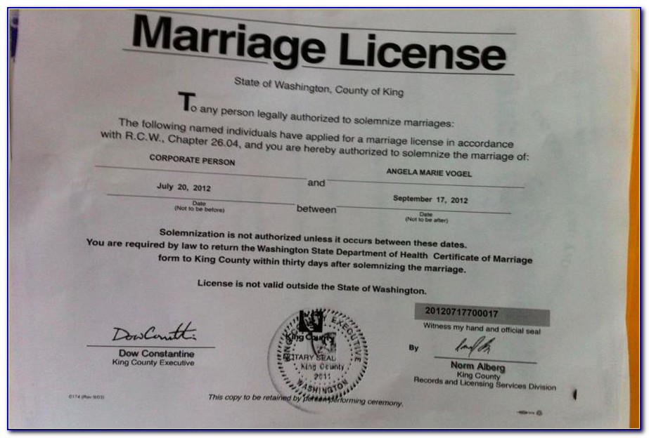 King County Marriage Certificate Copy