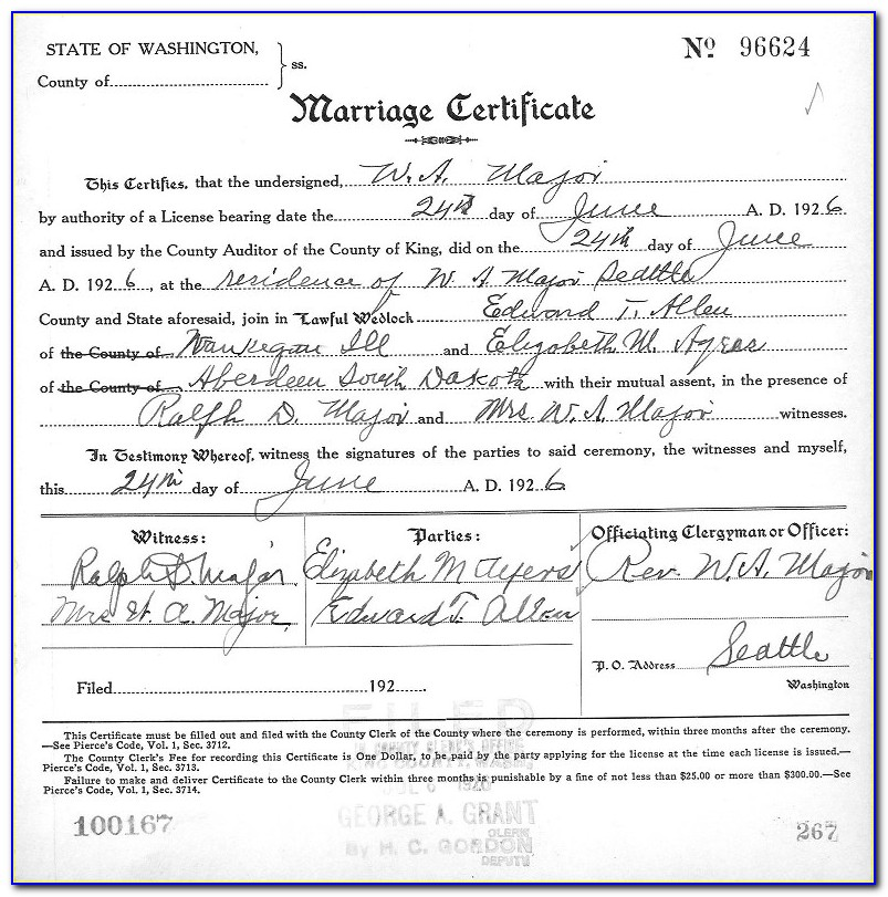 King County Marriage License Copy