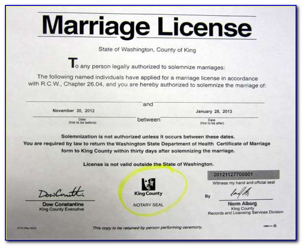 King County Marriage License Cost