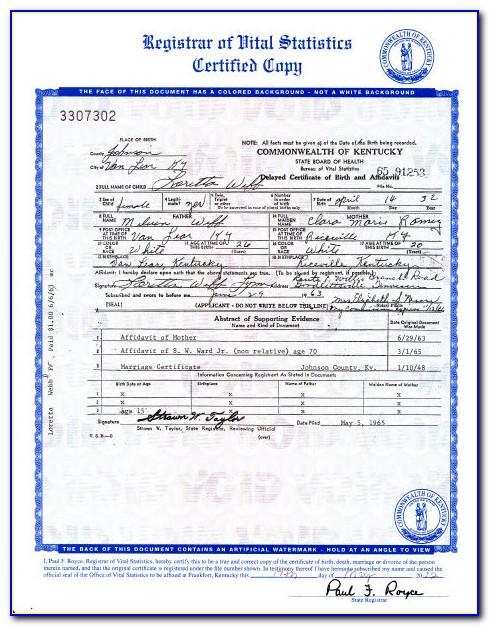 Ky Vital Records Birth Certificate
