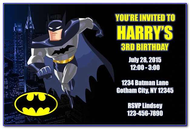 Lego Batman Invitation Card