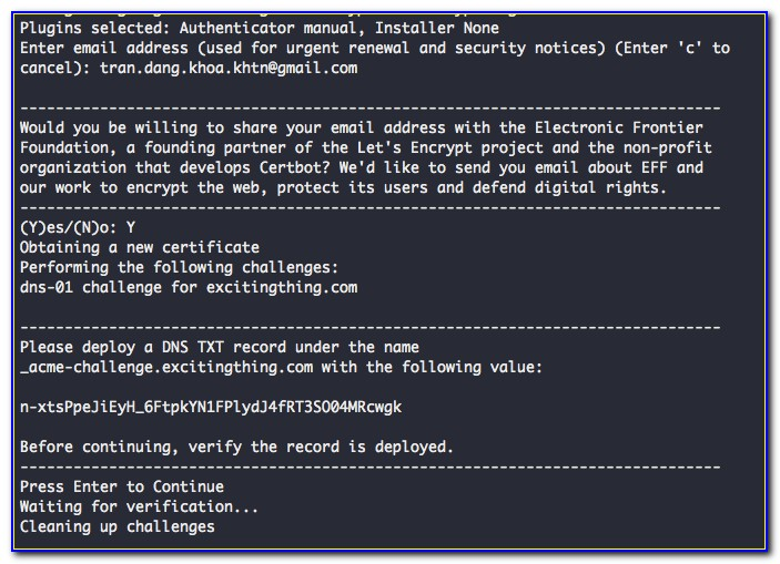 Letsencrypt Wildcard Certificate Digitalocean