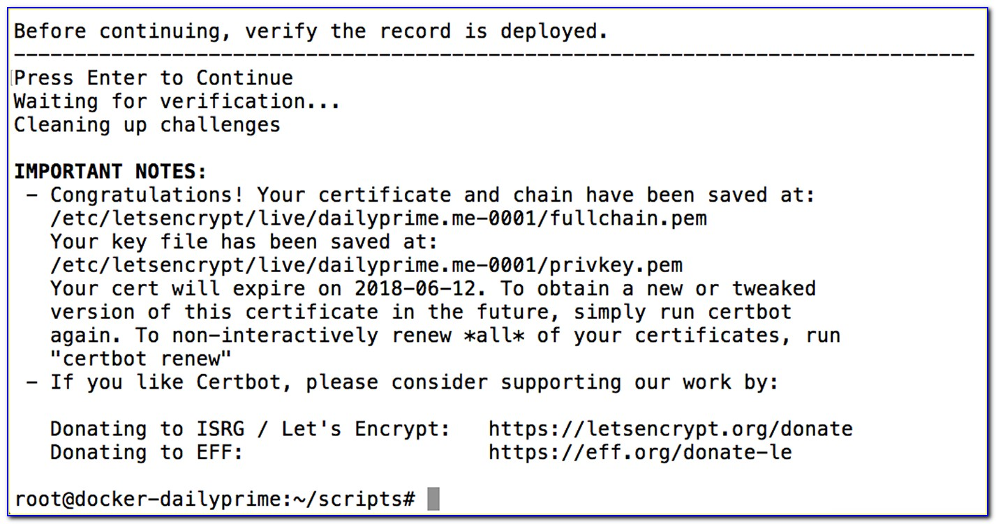 Letsencrypt Wildcard Certificates