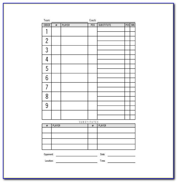 Lineup Card Template Excel