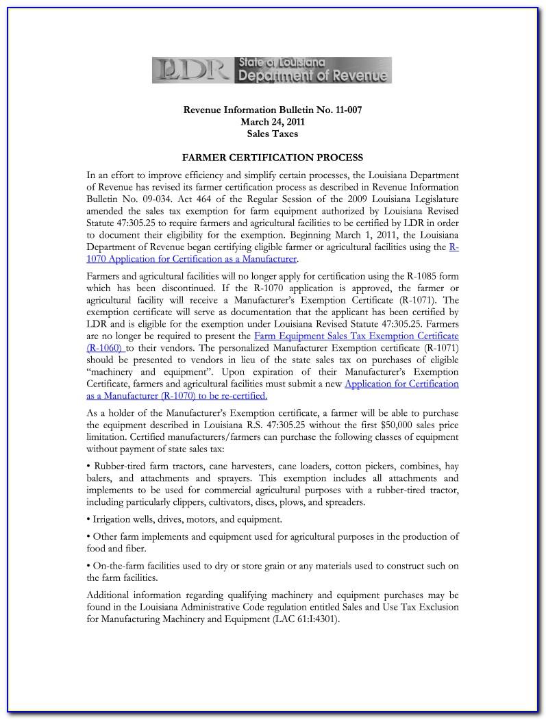 Louisiana Resale Certificate Blank