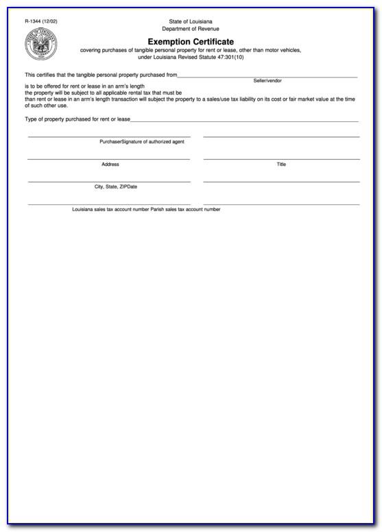 Louisiana Resale Certificate Copy