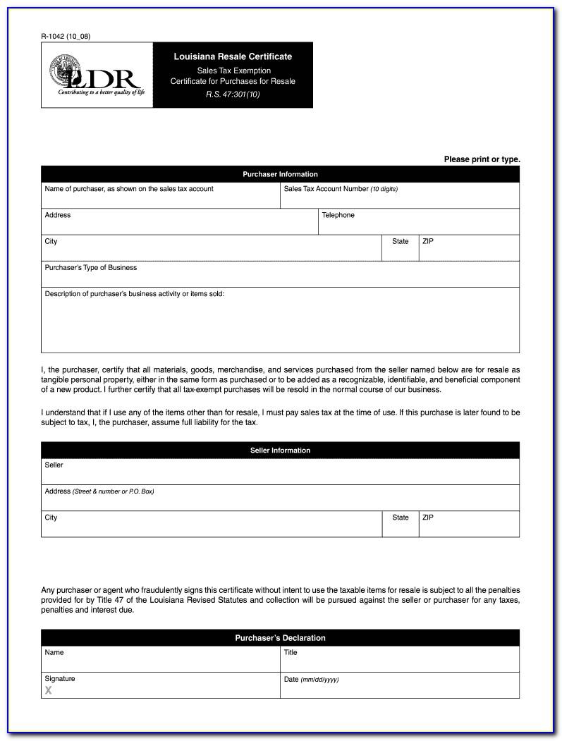 Louisiana Resale Certificate Expiration