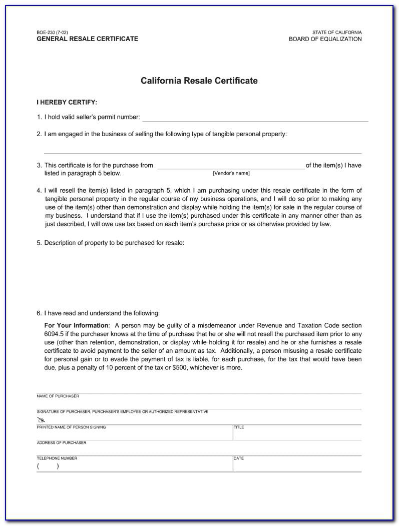 Louisiana Resale Certificate R 1079