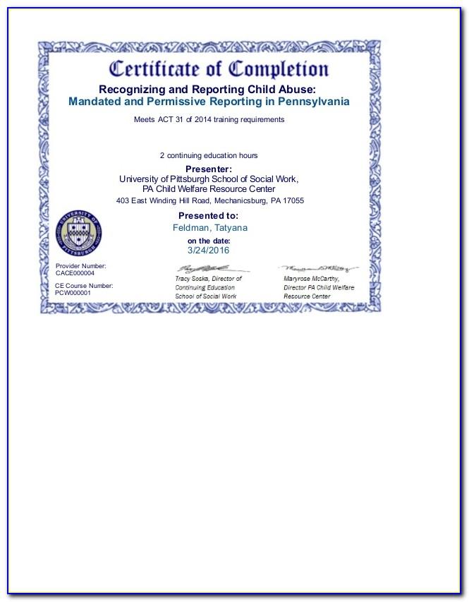 Mandated Reporter Certificate Ct