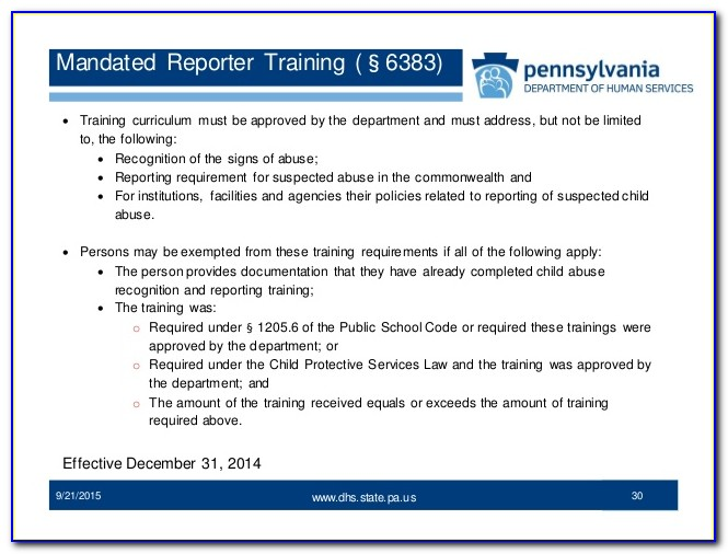 Mandated Reporter Certificate Expiration