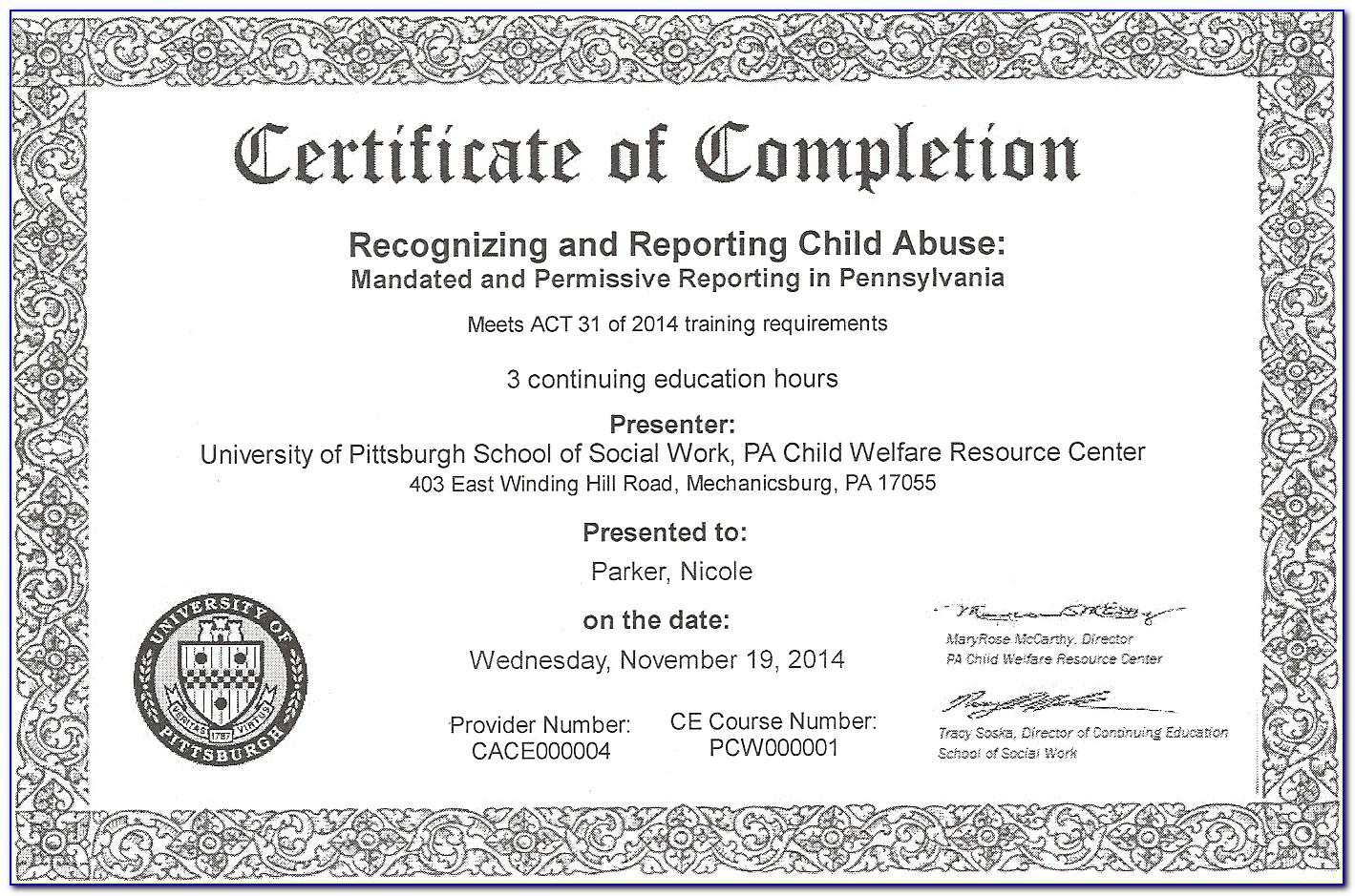 Mandated Reporter Certificate Online