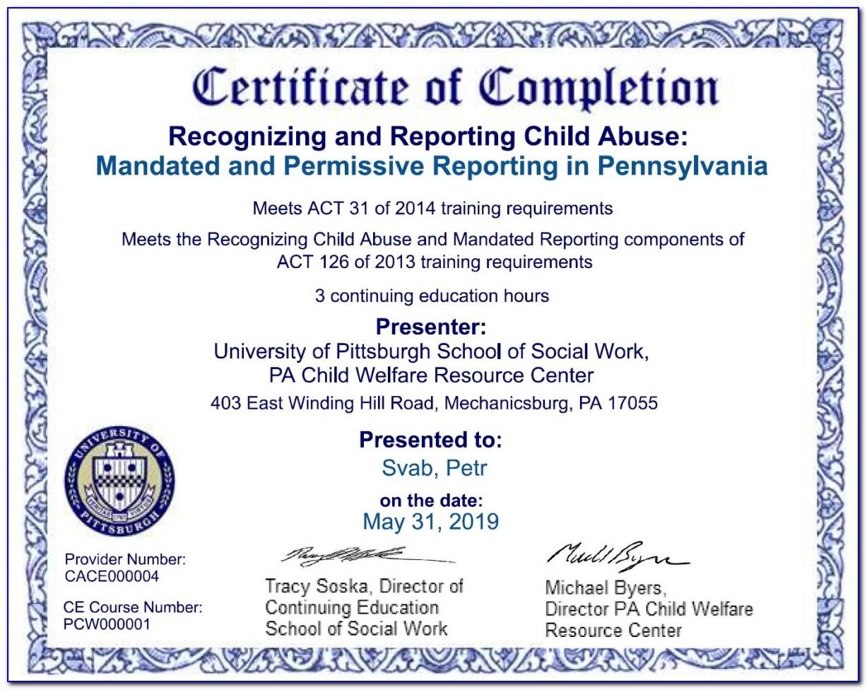 Mandated Reporter Certificate Pa