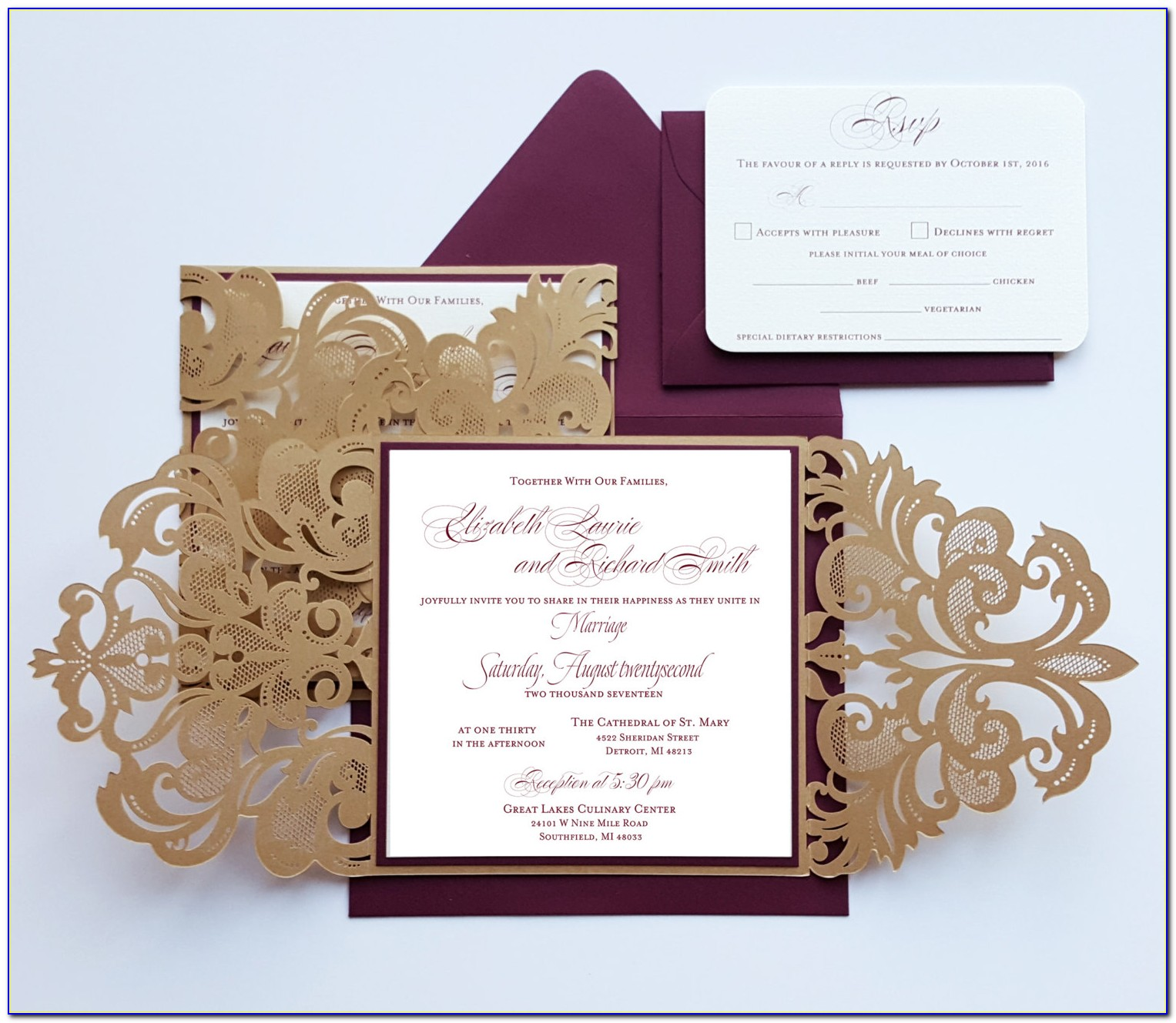 Maroon And Gold Wedding Invitation Cards