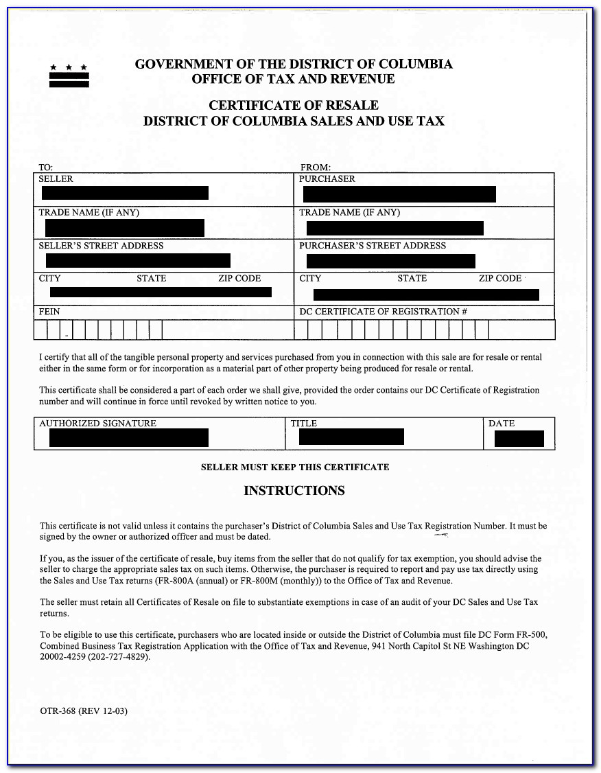 Maryland Resale Certificate Application