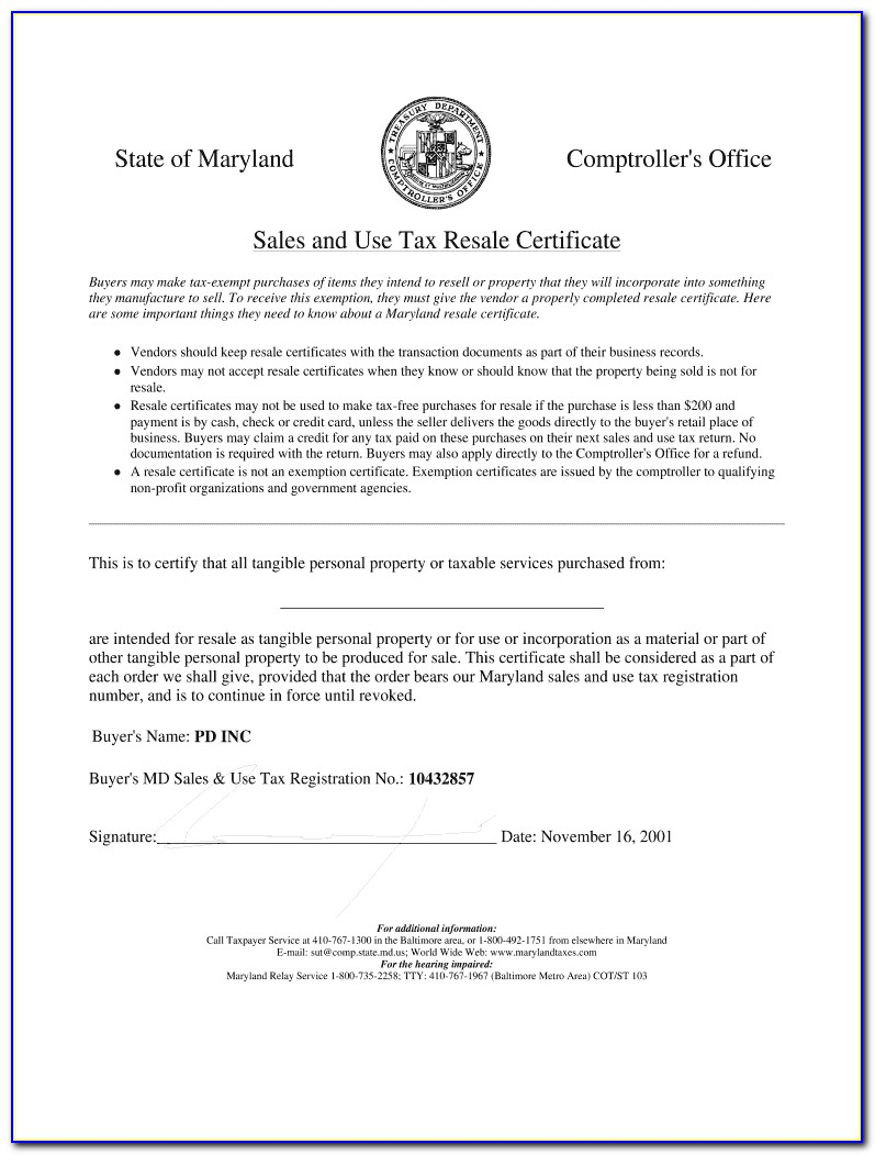 Maryland Resale Certificate Lookup