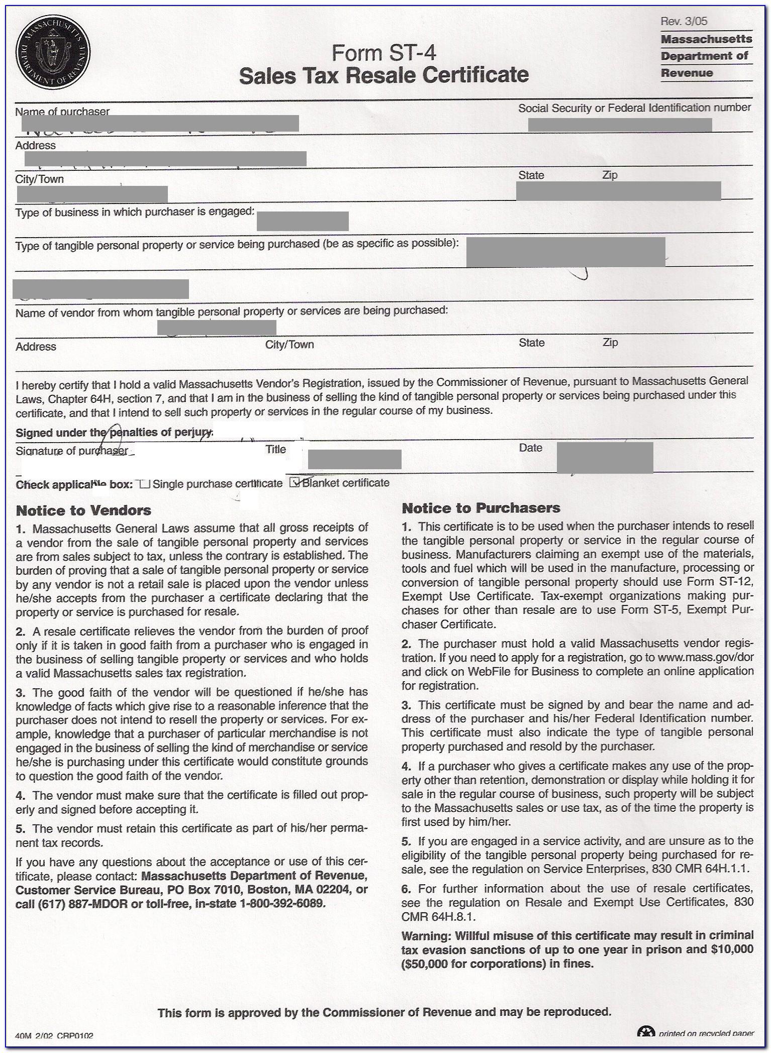 Massachusetts Resale Certificate Fillable