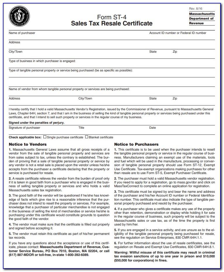 Massachusetts Resale Certificate Lookup